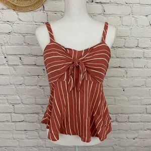 Maurice's tie front striped tank top